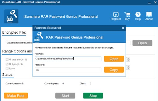 iSunshare RAR Password Genius